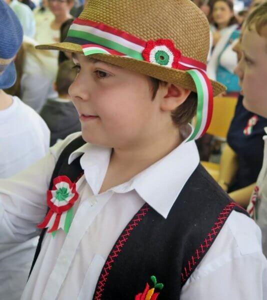 kalapos fiú, kokárdával