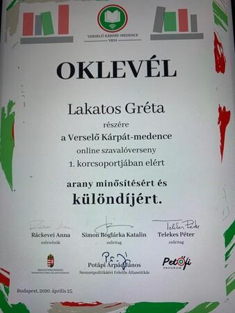 Oklevél-Lakatos Gréti