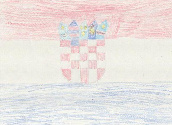 a horvát zászló - rajz